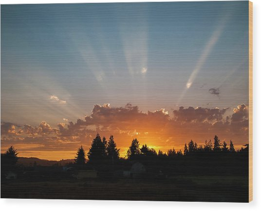 God Beams Wood Print