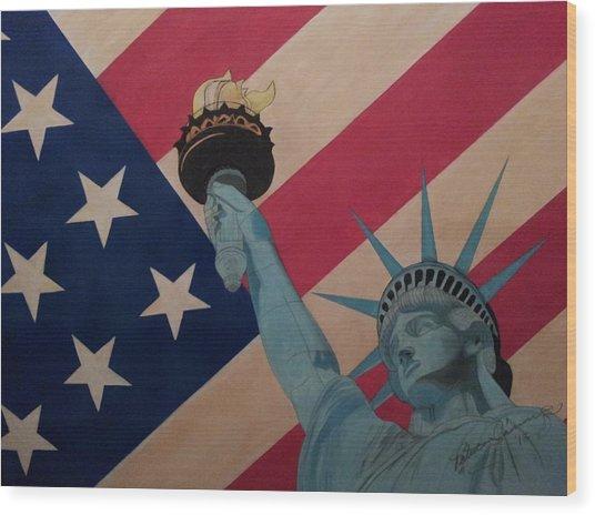 God Bless The Usa Wood Print