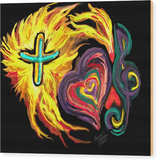 God Love Music Wood Print by Susan Cooke Pena