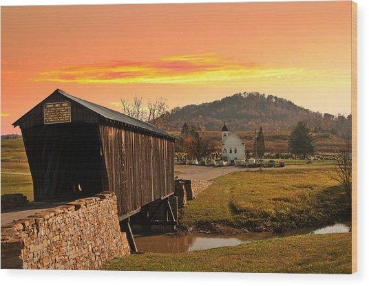 Goddard White Bridge And Church  Wood Print