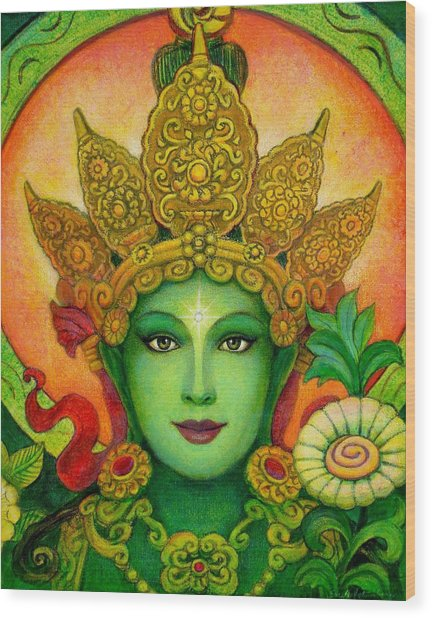 Goddess Green Tara's Face Wood Print
