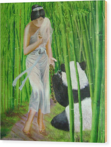 Goddess Of Mercy And Panda Wood Print by Lian Zhen