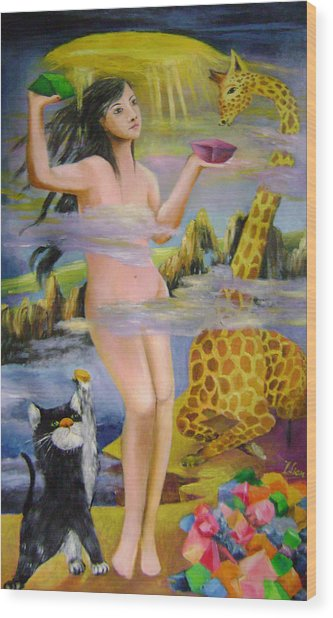Goddess Who Seals The Sky With Color Rocks Wood Print by Lian Zhen