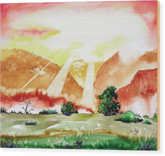 God's Sunset Wood Print