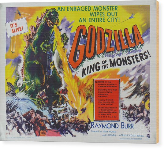 Godzilla King Of The Monsters An Enraged Monster Wipes Out An Entire City Vintage Movie Poster Wood Print