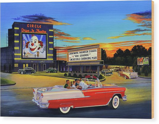 Goin' Steady - The Circle Drive-in Theatre Wood Print