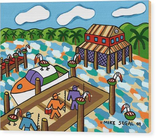 Going Fishing - Cedar Key Wood Print