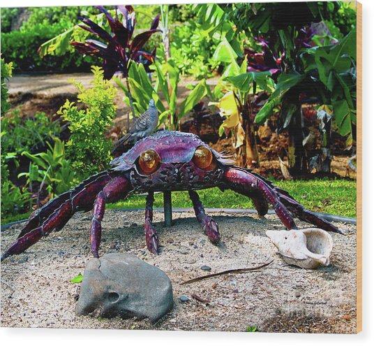Going Piggyback On A Crab Wood Print