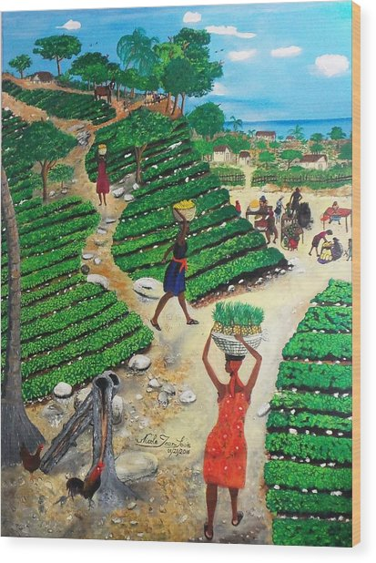 Going To The Marketplace #4 -  Walking Through The Terraces Wood Print