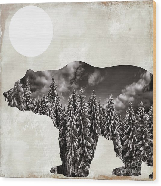 Going Wild Bear Wood Print