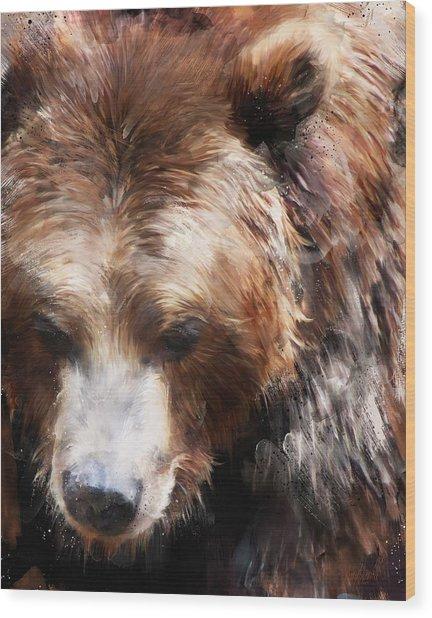 Bear // Gold Wood Print
