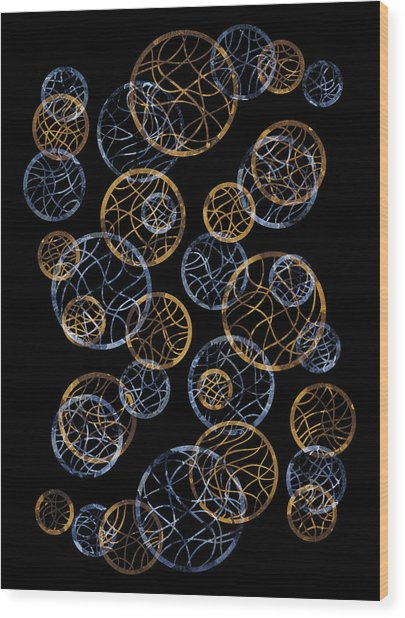 Gold And Blue Abstract Circles Wood Print by Frank Tschakert