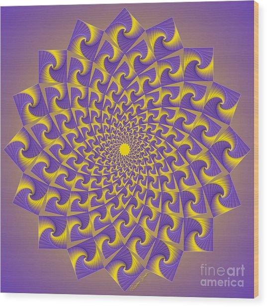 Gold And Purple Circle Of Diamonds Wood Print