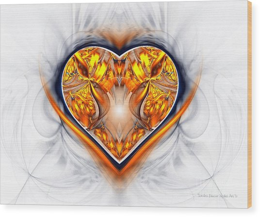 Gold And Sapphire Heart  Wood Print