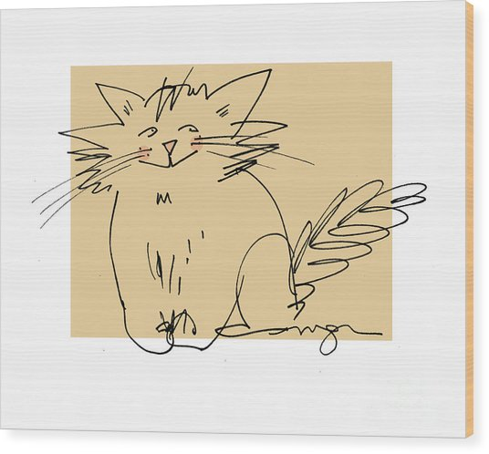 Gold Cat Wood Print