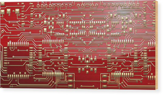 Gold Circuitry On Red Wood Print