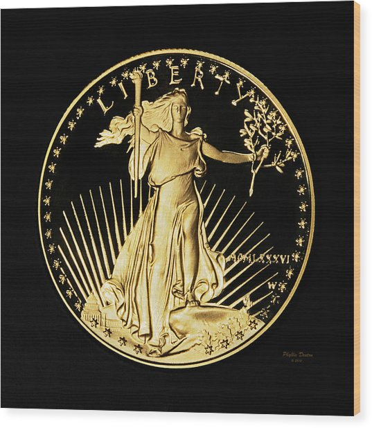 Gold Coin Front Wood Print