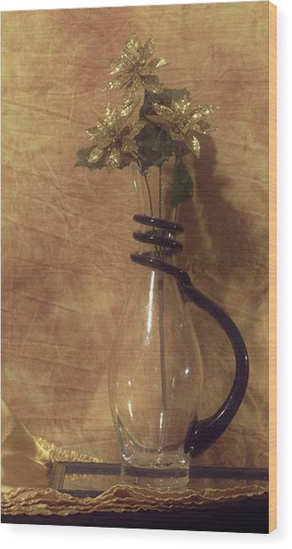 Gold Flower Vase Wood Print