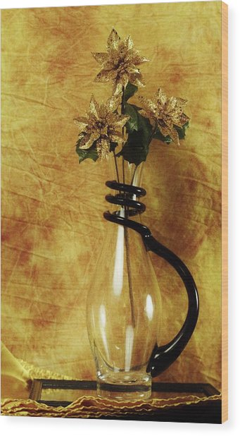 Gold Flowers In Vase Wood Print