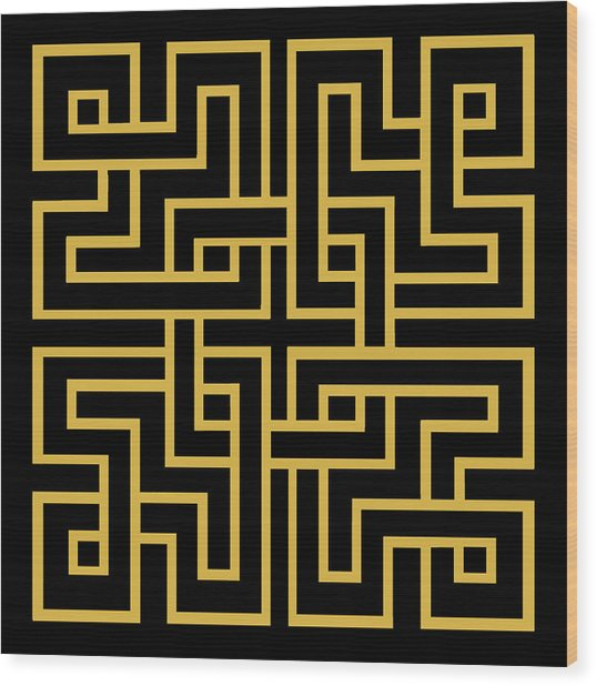 Gold Geo 6 Wood Print