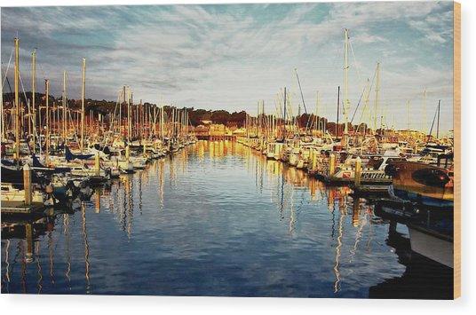 Gold Light, Monterey Marina Wood Print