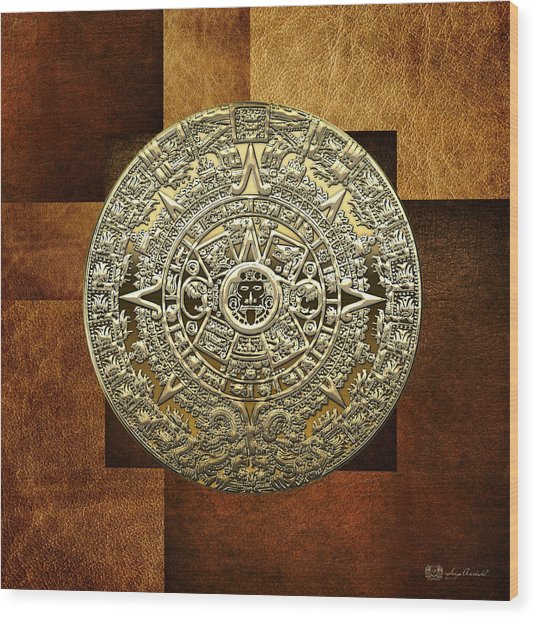 Gold Mayan-aztec Calendar On Brown Leather Wood Print