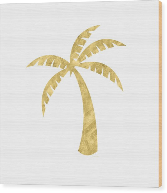 Gold Palm Tree- Art By Linda Woods Wood Print