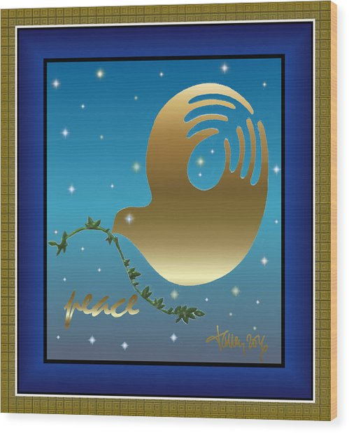 Gold Peace Dove Wood Print
