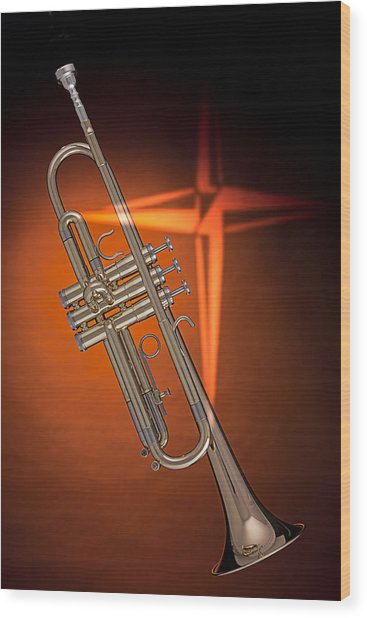 Gold Trumpet With Cross On Orange Wood Print