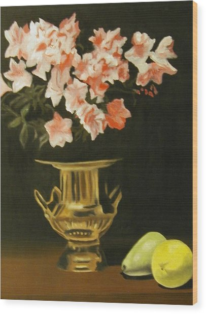 Gold Vase With Fruit Wood Print