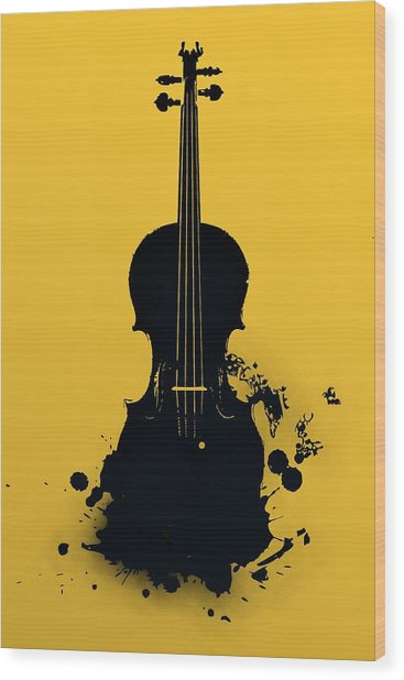 Gold Violin Wood Print