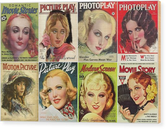 Golden Age Of Movies Magazine Covers Wood Print