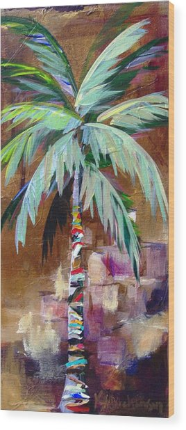 Golden Amethyst Palm Wood Print