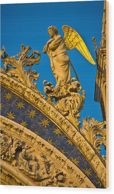 Golden Angel Wood Print