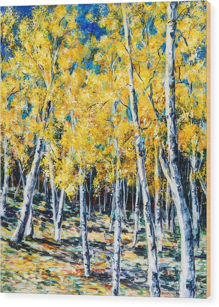 Golden Aspen Wood Print