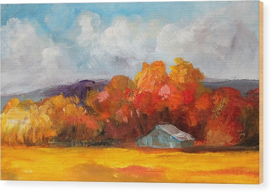 Golden Autumn Blue Country Horse Barn Wood Print