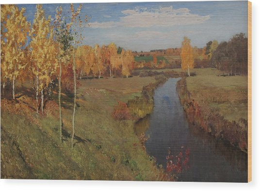 Golden Autumn Wood Print by Isaac Levitan