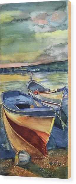 Golden Boats Wood Print