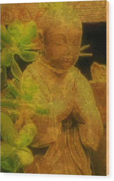 Golden Buddha Wood Print by Jen White