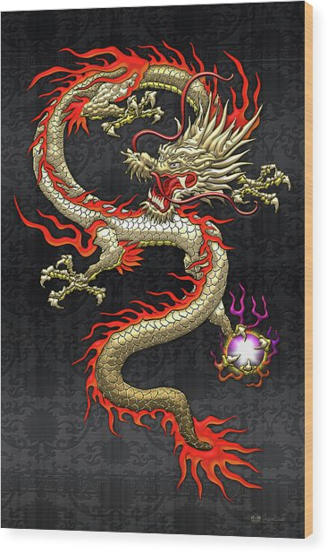 Golden Chinese Dragon Fucanglong On Black Silk Wood Print