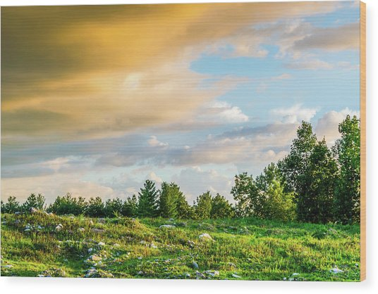 Golden Clouds Wood Print