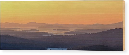 Golden Dawn Over Squam And Winnipesaukee Wood Print