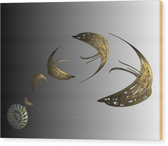 Golden Dolphin Flip Wood Print by Ricky Kendall
