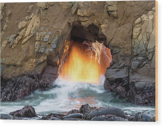 Big Sur - Pfeiffer Beach - Golden Door Wood Print