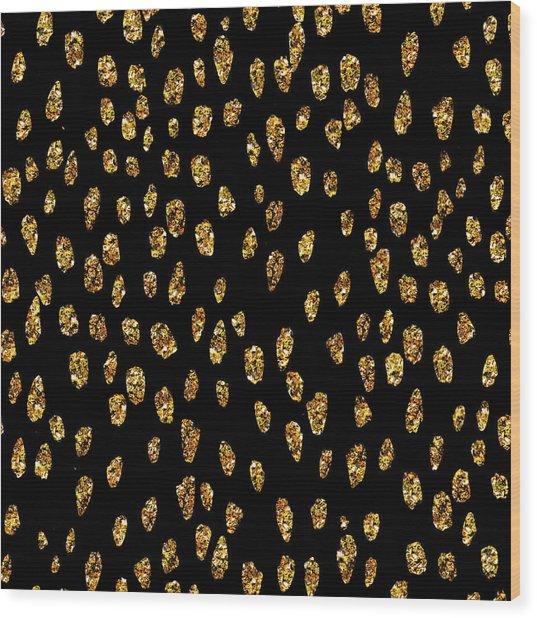 Golden Dots Wood Print