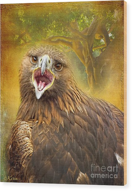 Golden Eagle Call Wood Print