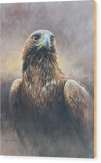 Golden Eagle Portrait Wood Print