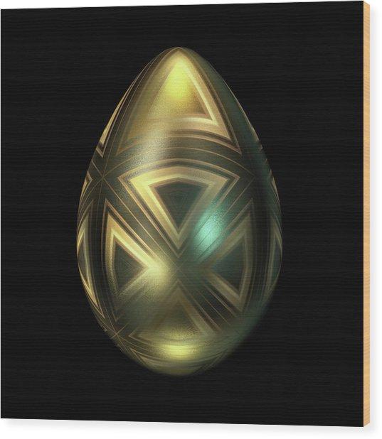 Golden Egg With Maltese Cross Wood Print