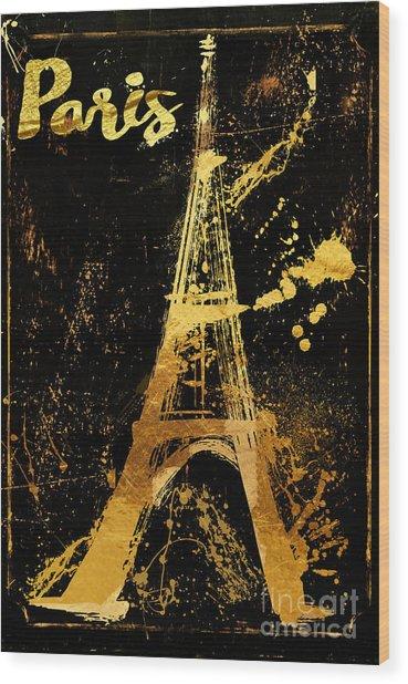 Golden Eiffel Tower Paris Wood Print
