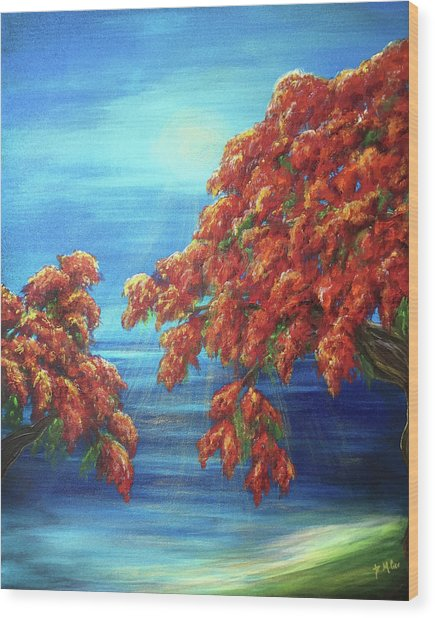 Golden Flame Tree Wood Print